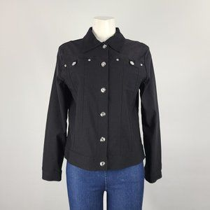 Tradition Black Crystal Button Jacket Size 10